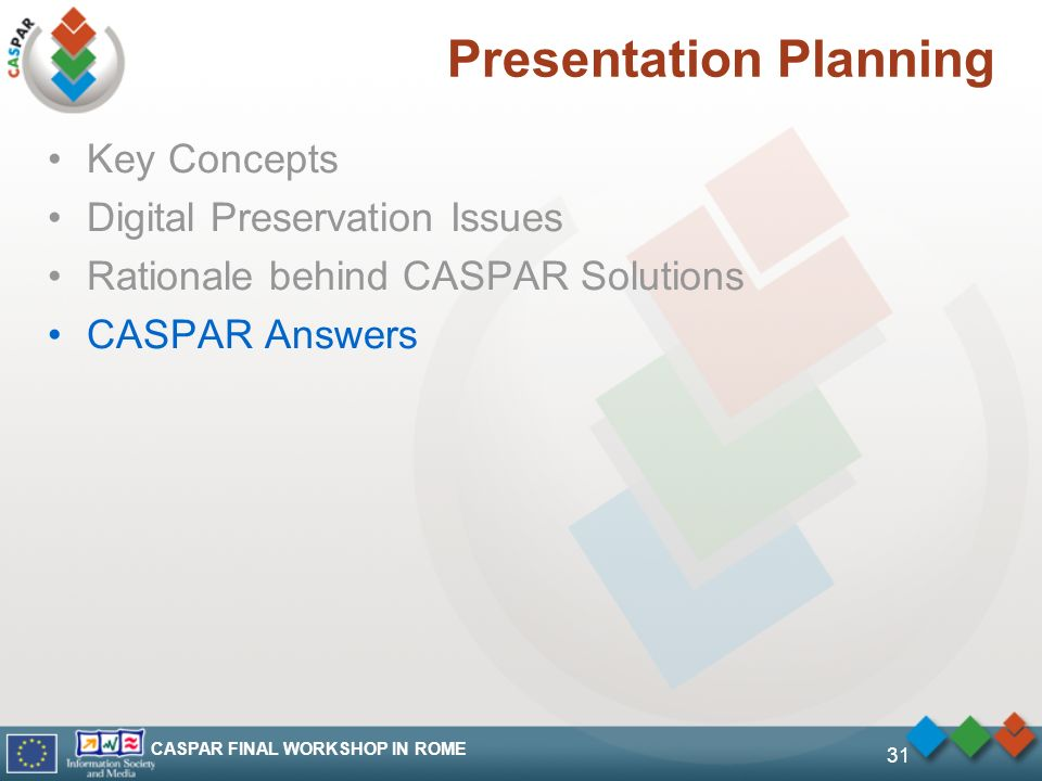 CASPAR FINAL WORKSHOP IN ROME 31 Presentation Planning Key Concepts Digital Preservation Issues Rationale behind CASPAR Solutions CASPAR Answers