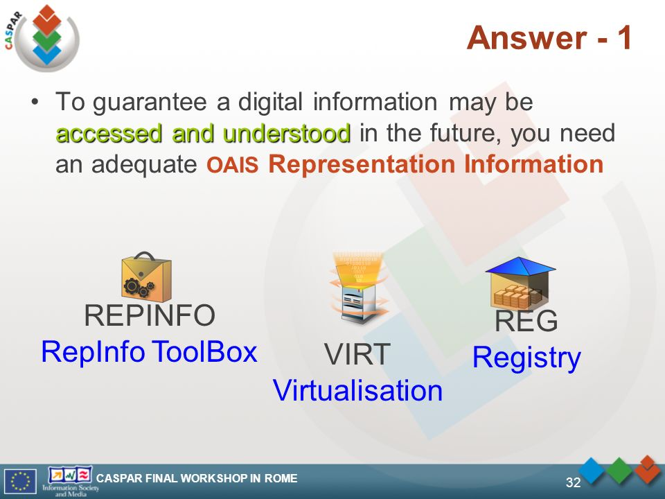 CASPAR FINAL WORKSHOP IN ROME 32 Answer - 1 accessed and understoodTo guarantee a digital information may be accessed and understood in the future, you need an adequate OAIS Representation Information REPINFO RepInfo ToolBox VIRT Virtualisation REG Registry