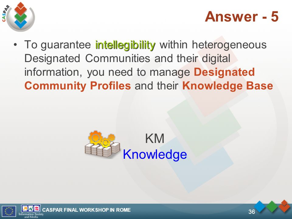 CASPAR FINAL WORKSHOP IN ROME 36 Answer - 5 intellegibilityTo guarantee intellegibility within heterogeneous Designated Communities and their digital information, you need to manage Designated Community Profiles and their Knowledge Base KM Knowledge
