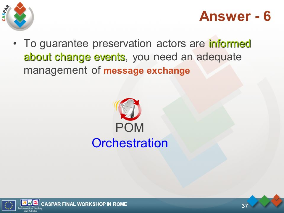 CASPAR FINAL WORKSHOP IN ROME 37 Answer - 6 informed about change eventsTo guarantee preservation actors are informed about change events, you need an