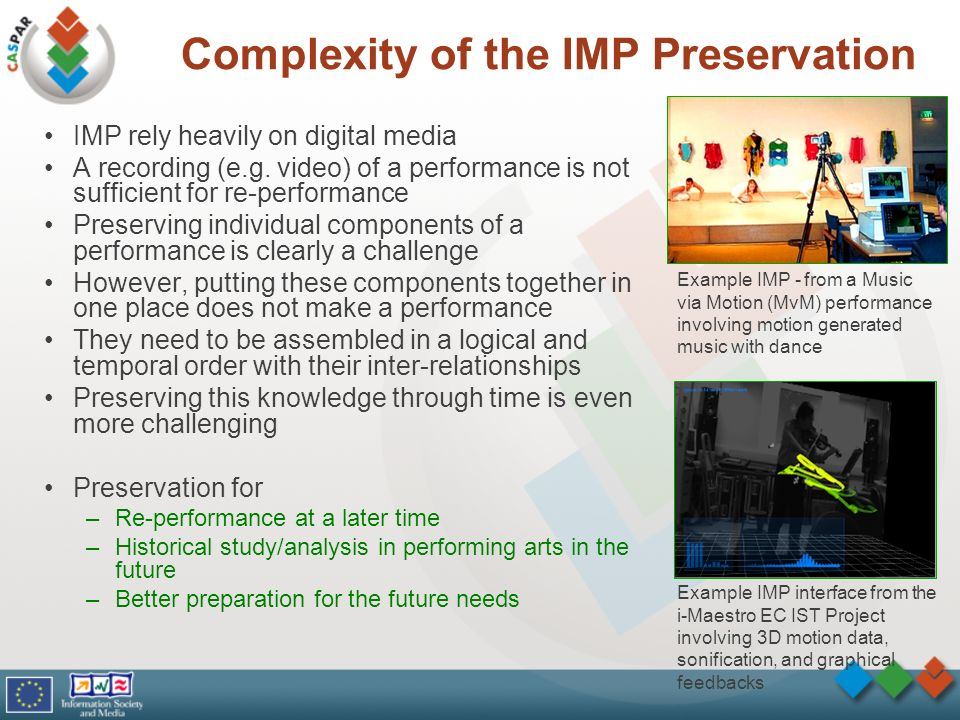 Complexity of the IMP Preservation IMP rely heavily on digital media A recording (e.g. video) of a performance is not sufficient for re-performance Pr