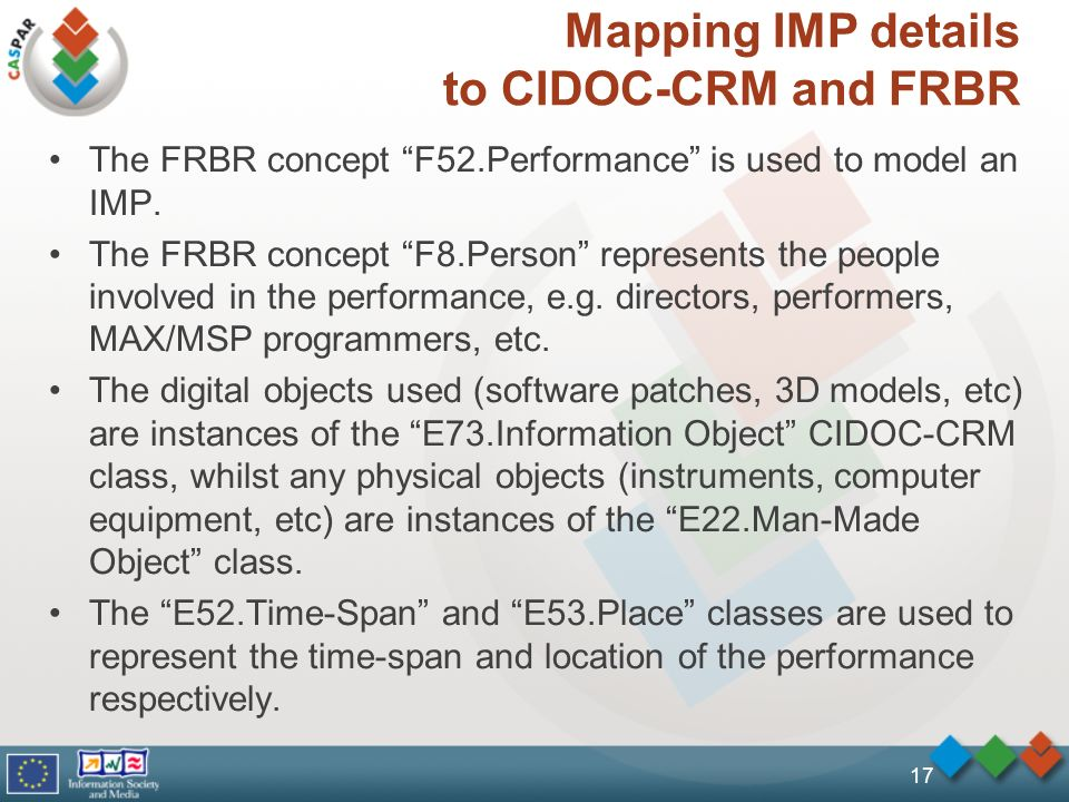 17 Mapping IMP details to CIDOC-CRM and FRBR The FRBR concept F52.Performance is used to model an IMP. The FRBR concept F8.Person represents the peopl