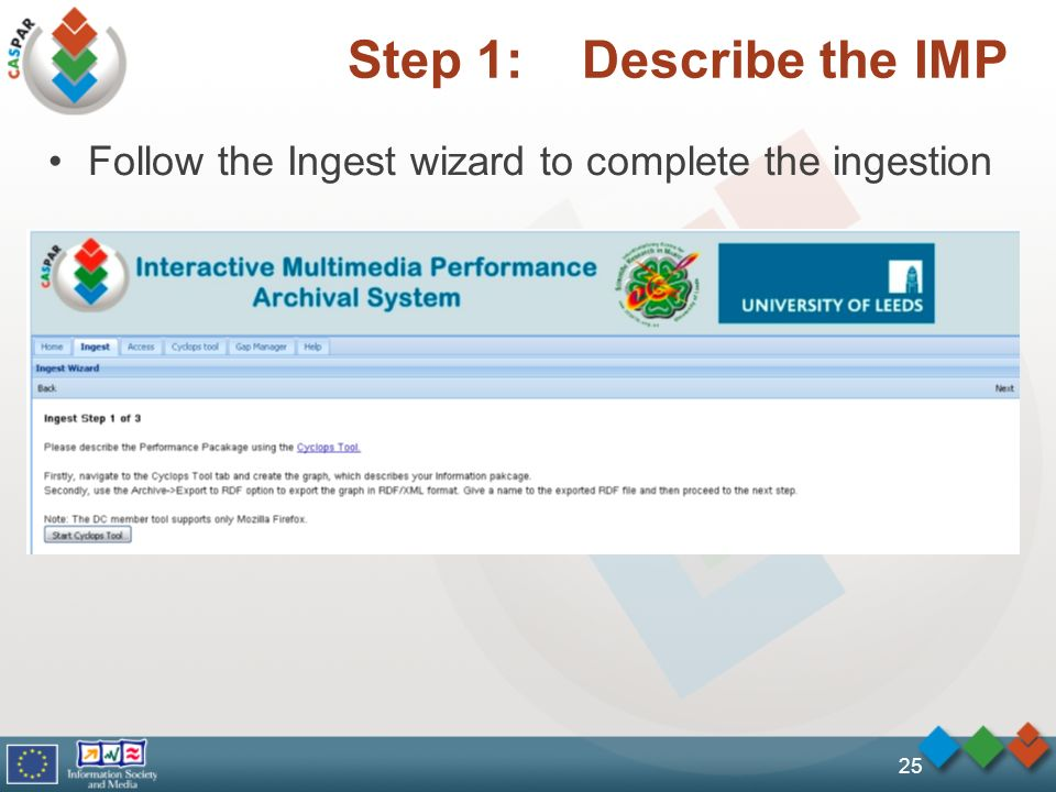 Step 1: Describe the IMP Follow the Ingest wizard to complete the ingestion 25