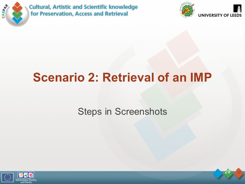 Scenario 2: Retrieval of an IMP Steps in Screenshots 29