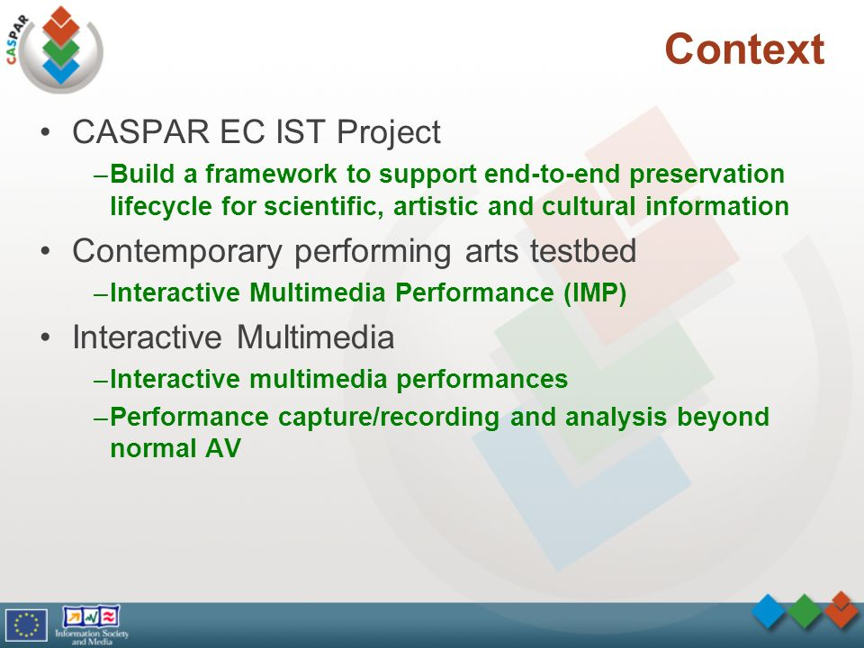 Context CASPAR EC IST Project –Build a framework to support end-to-end preservation lifecycle for scientific, artistic and cultural information Contem