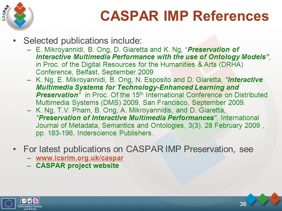 CASPAR IMP References Selected publications include: –E. Mikroyannidi, B. Ong, D. Giaretta and K. Ng, Preservation of Interactive Multimedia Performan