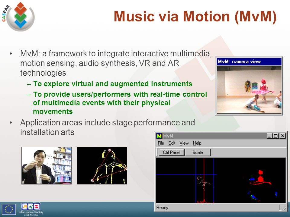 Music via Motion (MvM) MvM: a framework to integrate interactive multimedia, motion sensing, audio synthesis, VR and AR technologies –To explore virtu