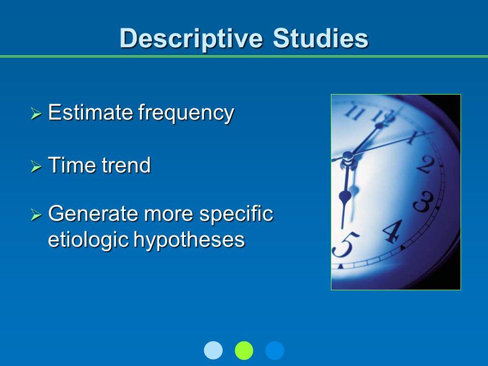 Descriptive Studies Estimate frequency Estimate frequency Time trend Time trend Generate more specific etiologic hypotheses Generate more specific etiologic hypotheses