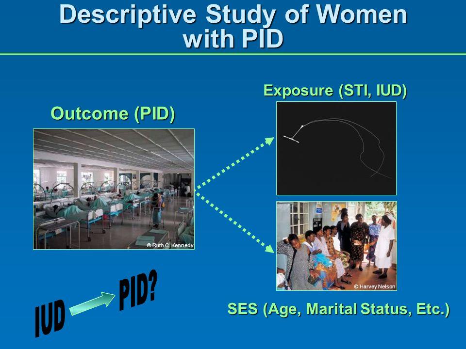 Descriptive Study of Women with PID Outcome (PID) SES (Age, Marital Status, Etc.) Exposure (STI, IUD) © Ruth C.