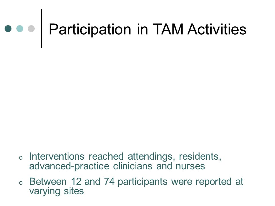 o Interventions reached attendings, residents, advanced-practice clinicians and nurses o Between 12 and 74 participants were reported at varying sites Participation in TAM Activities