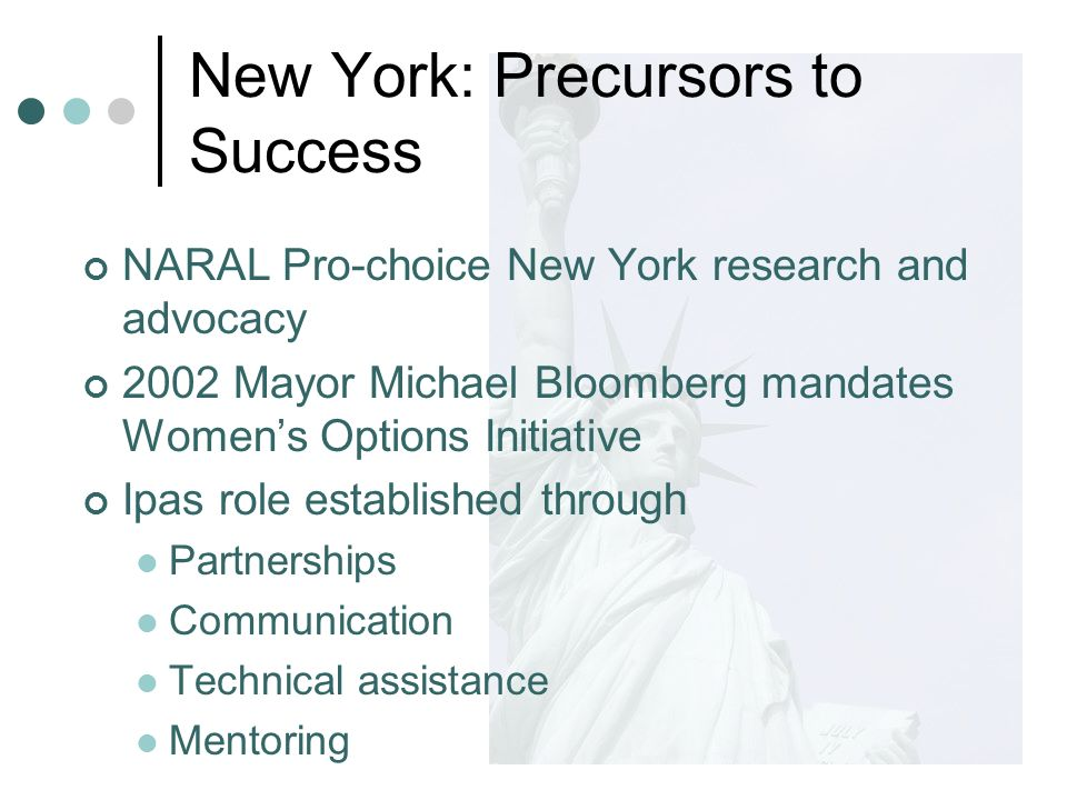NARAL Pro-choice New York research and advocacy 2002 Mayor Michael Bloomberg mandates Womens Options Initiative Ipas role established through Partnerships Communication Technical assistance Mentoring New York: Precursors to Success