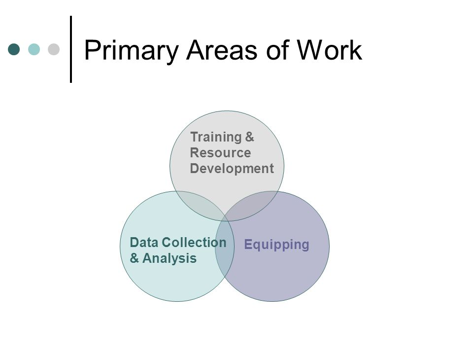 Primary Areas of Work Equipping Data Collection & Analysis Training & Resource Development