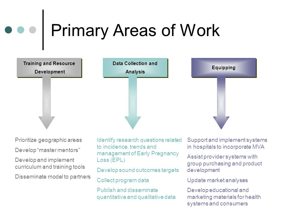 Primary Areas of Work Training and Resource Development Training and Resource Development Prioritize geographic areas Develop master mentors Develop and implement curriculum and training tools Disseminate model to partners Data Collection and Analysis Data Collection and Analysis Identify research questions related to incidence, trends and management of Early Pregnancy Loss (EPL) Develop sound outcomes targets Collect program data Publish and disseminate quantitative and qualitative data Equipping Support and implement systems in hospitals to incorporate MVA Assist provider systems with group purchasing and product development Update market analyses Develop educational and marketing materials for health systems and consumers
