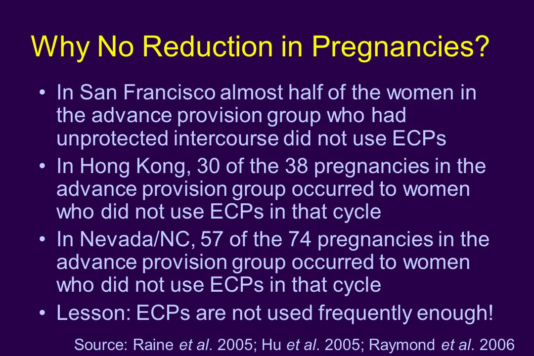 Why No Reduction in Pregnancies? In San Francisco almost half of the women in the advance provision group who had unprotected intercourse did not use