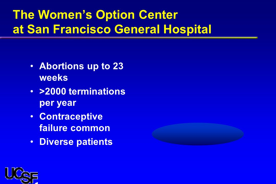 The Womens Option Center at San Francisco General Hospital Abortions up to 23 weeks >2000 terminations per year Contraceptive failure common Diverse patients