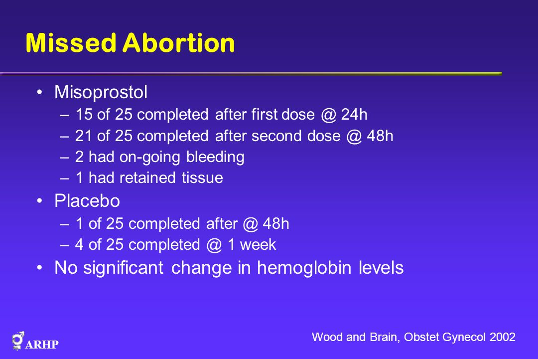 ARHP Missed Abortion Misoprostol –15 of 25 completed after first dose @ 24h –21 of 25 completed after second dose @ 48h –2 had on-going bleeding –1 ha