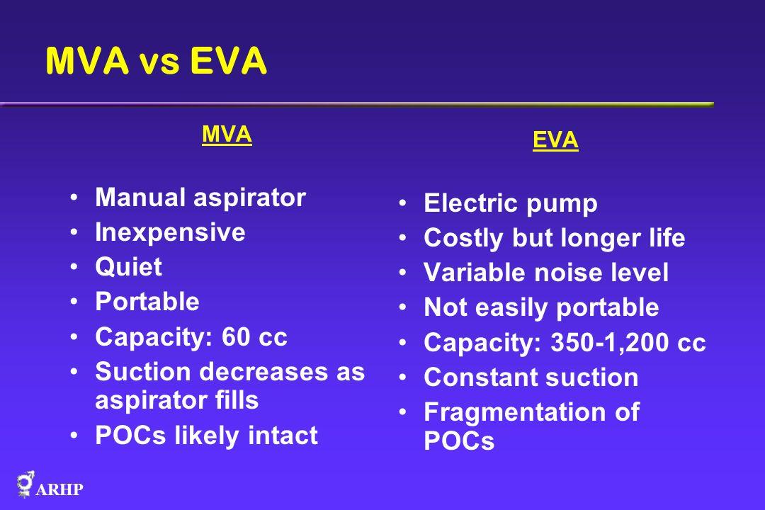 ARHP MVA vs EVA EVA Electric pump Costly but longer life Variable noise level Not easily portable Capacity: 350-1,200 cc Constant suction Fragmentatio