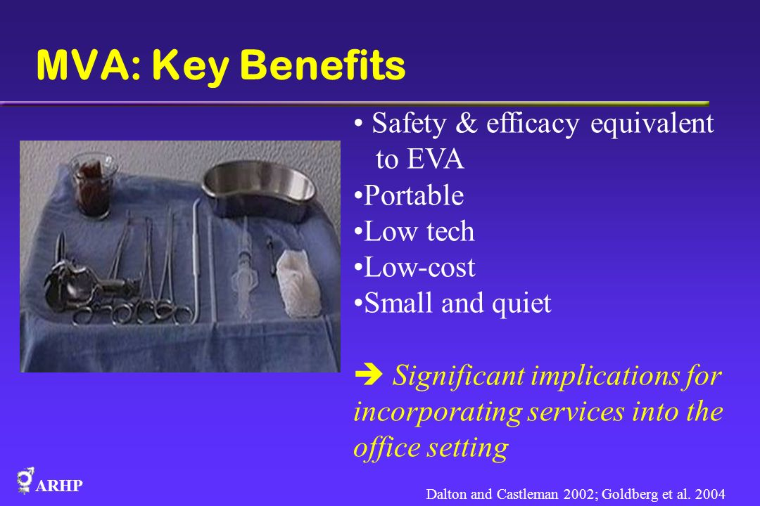 ARHP MVA: Key Benefits Safety & efficacy equivalent to EVA Portable Low tech Low-cost Small and quiet Significant implications for incorporating servi