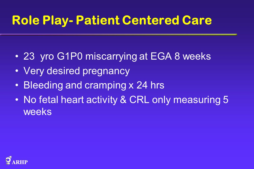 ARHP Role Play- Patient Centered Care 23 yro G1P0 miscarrying at EGA 8 weeks Very desired pregnancy Bleeding and cramping x 24 hrs No fetal heart acti