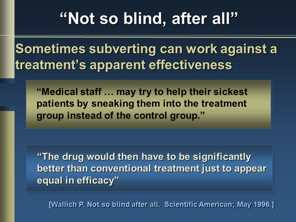 Not so blind, after all Sometimes subverting can work against a treatments apparent effectiveness [Wallich P.