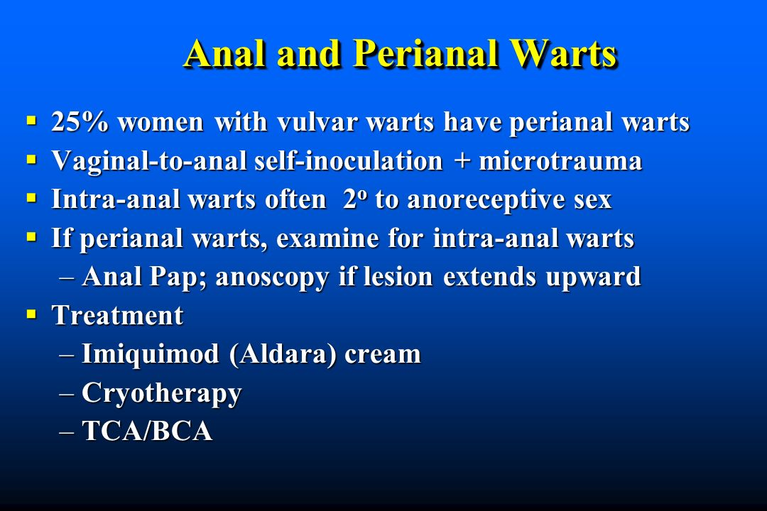Anal and Perianal Warts 25% women with vulvar warts have perianal warts 25% women with vulvar warts have perianal warts Vaginal-to-anal self-inoculati