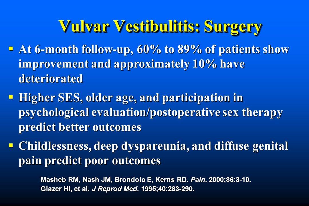 Vulvar Vestibulitis: Surgery Masheb RM, Nash JM, Brondolo E, Kerns RD.