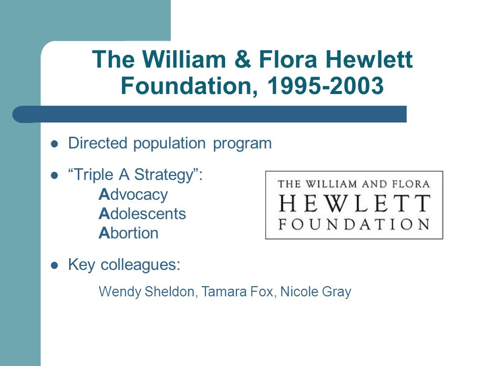 The William & Flora Hewlett Foundation, 1995-2003 Directed population program Triple A Strategy: Advocacy Adolescents Abortion Key colleagues: Wendy Sheldon, Tamara Fox, Nicole Gray