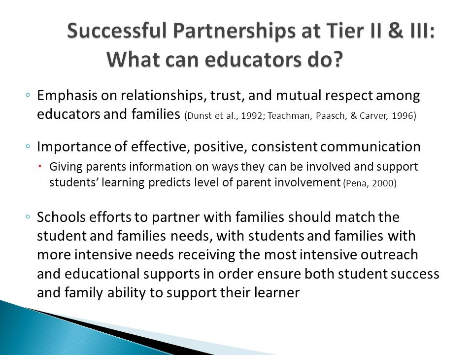 Successful Partnerships at Tier II & III: What can educators do.