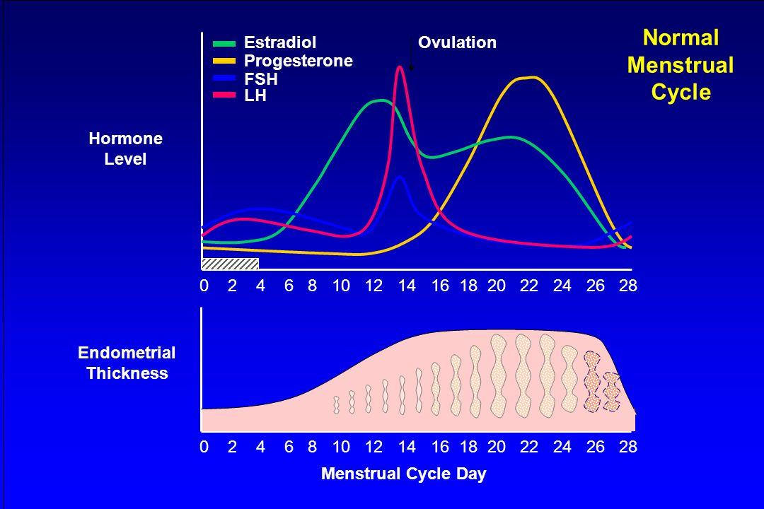 0 2 4 6 8 10 12 14 16 18 20 22 24 26 28 Hormone Level Estradiol Progesterone FSH LH Menstrual Cycle Day Ovulation Endometrial Thickness 0 2 4 6 8 10 1