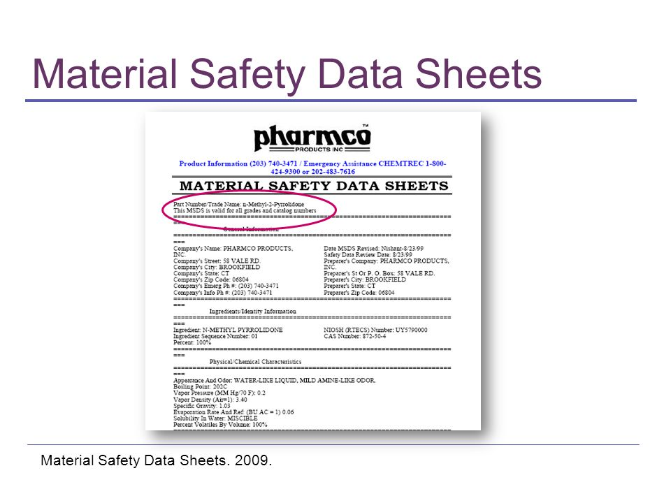 Material Safety Data Sheets Material Safety Data Sheets. 2009.
