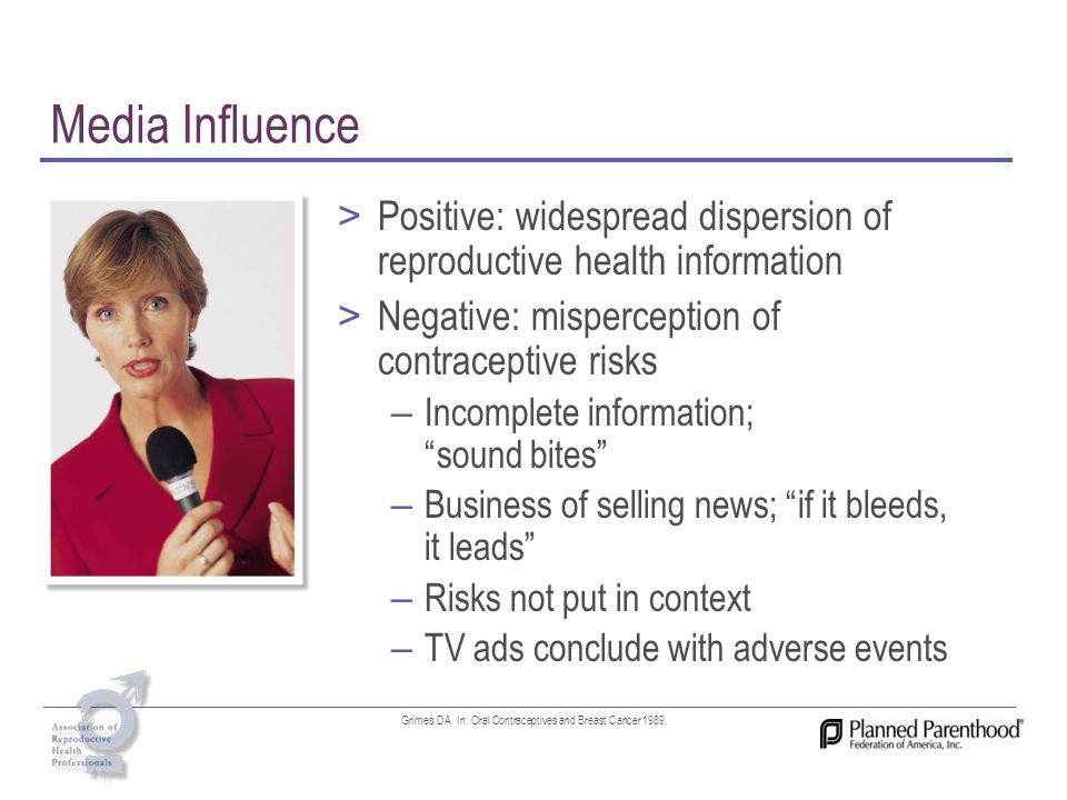 Media Influence > Positive: widespread dispersion of reproductive health information > Negative: misperception of contraceptive risks – Incomplete inf