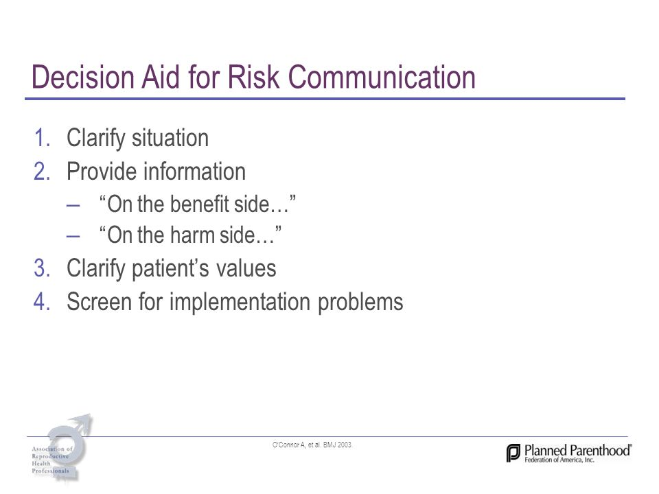 Decision Aid for Risk Communication 1.Clarify situation 2.Provide information – On the benefit side… – On the harm side… 3.Clarify patients values 4.S