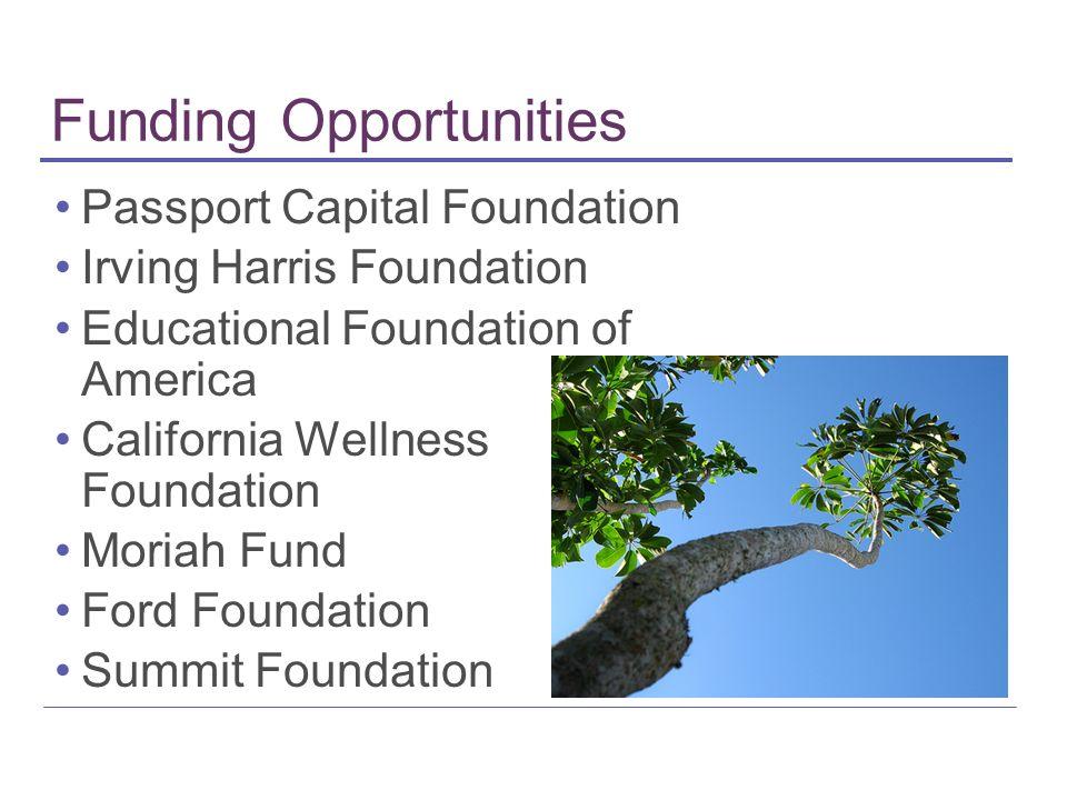 Funding Opportunities Passport Capital Foundation Irving Harris Foundation Educational Foundation of America California Wellness Foundation Moriah Fund Ford Foundation Summit Foundation