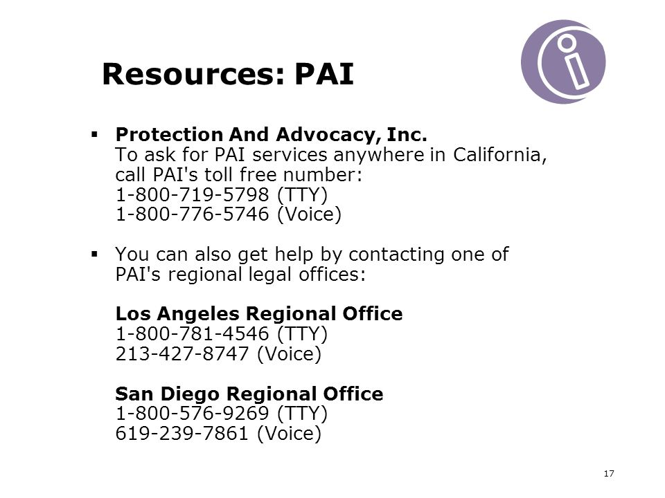 17 Resources: PAI Protection And Advocacy, Inc.