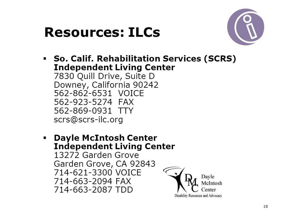 18 Resources: ILCs So. Calif.