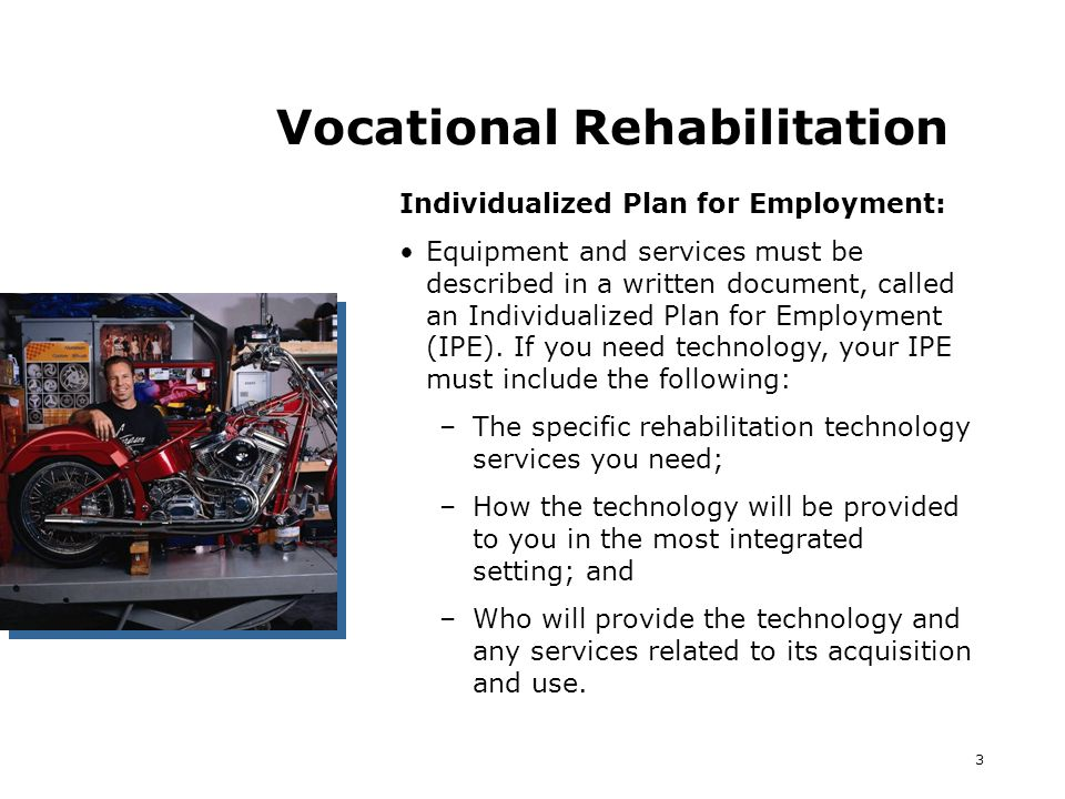 3 Vocational Rehabilitation Individualized Plan for Employment: Equipment and services must be described in a written document, called an Individualized Plan for Employment (IPE).