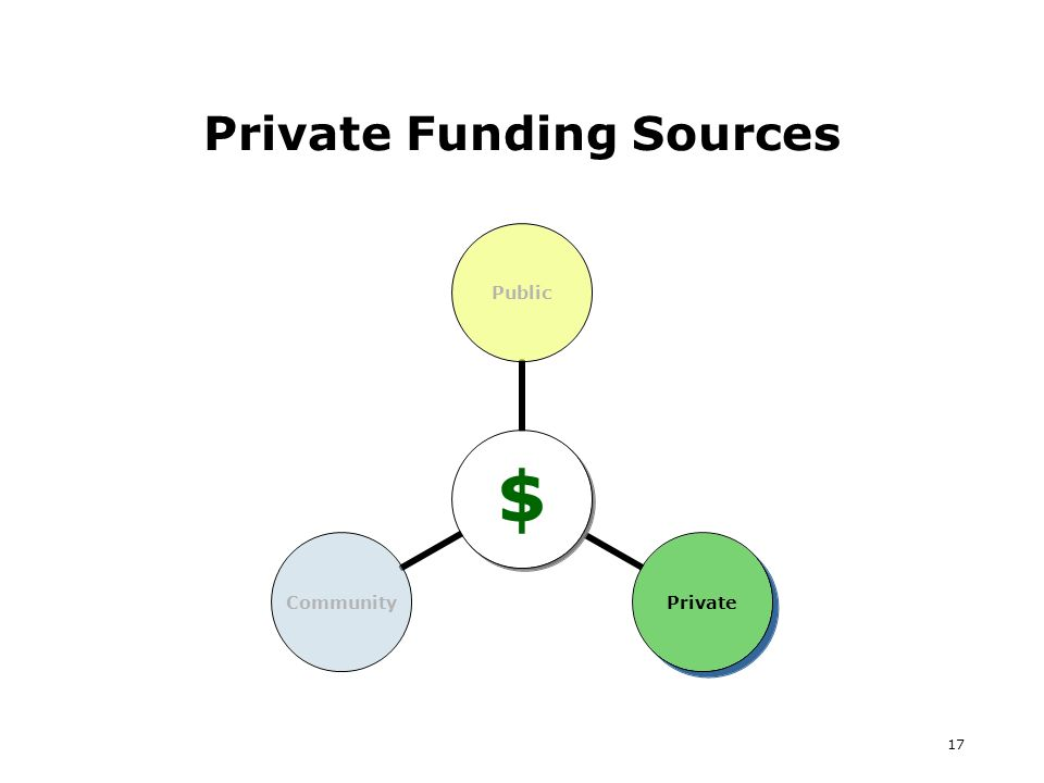 17 Private Funding Sources $ PublicPrivateCommunity