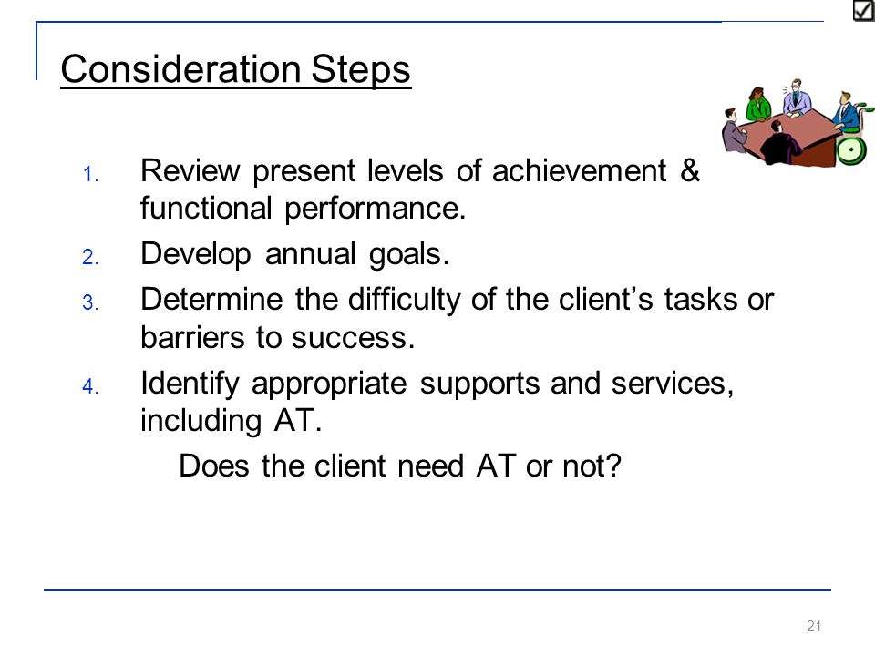 21 Consideration Steps 1.Review present levels of achievement & functional performance.