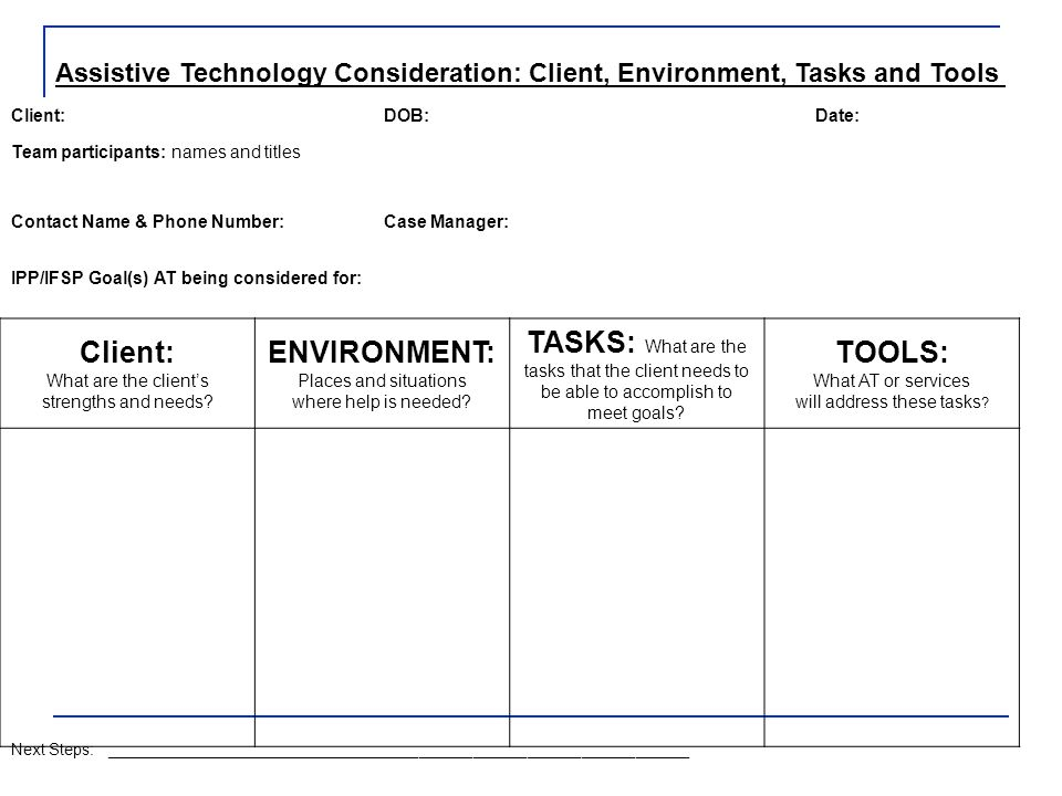 Assistive Technology Consideration: Client, Environment, Tasks and Tools Client:DOB:Date: Team participants: names and titles Contact Name & Phone Number:Case Manager: IPP/IFSP Goal(s) AT being considered for: Client: What are the clients strengths and needs.