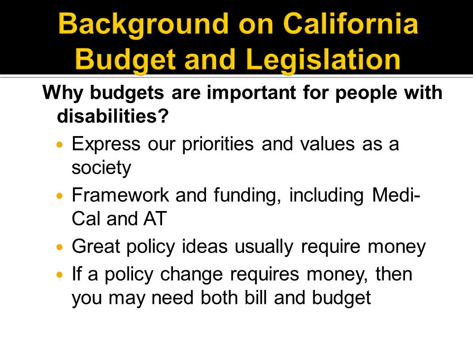 Why budgets are important for people with disabilities.
