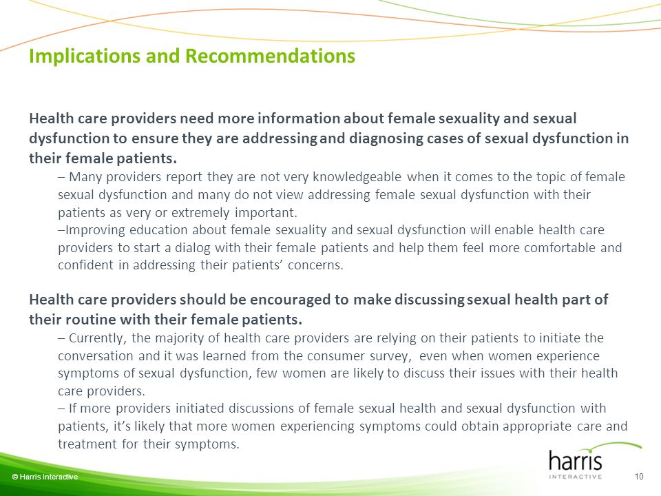 © Harris Interactive 10 Health care providers need more information about female sexuality and sexual dysfunction to ensure they are addressing and di