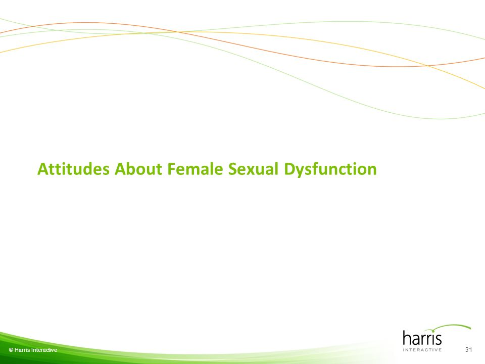 © Harris Interactive Attitudes About Female Sexual Dysfunction 31