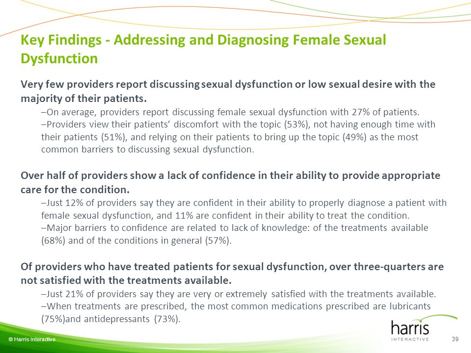 Key Findings - Addressing and Diagnosing Female Sexual Dysfunction © Harris Interactive 39 Very few providers report discussing sexual dysfunction or low sexual desire with the majority of their patients.