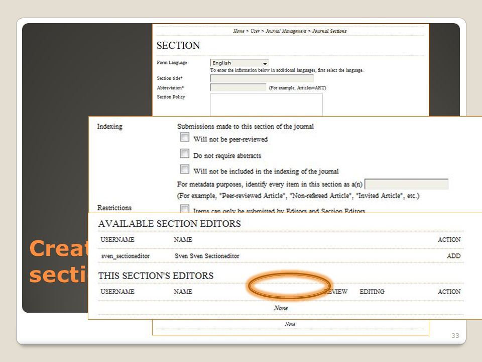 Create sections 33 Click Save. Click Edit section.
