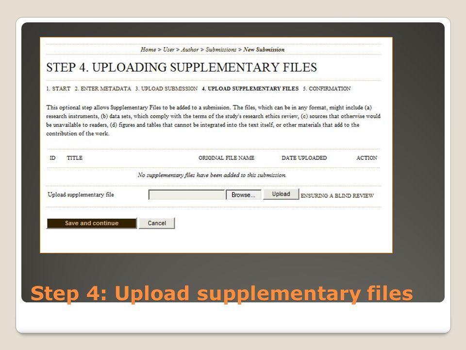Step 4: Upload supplementary files