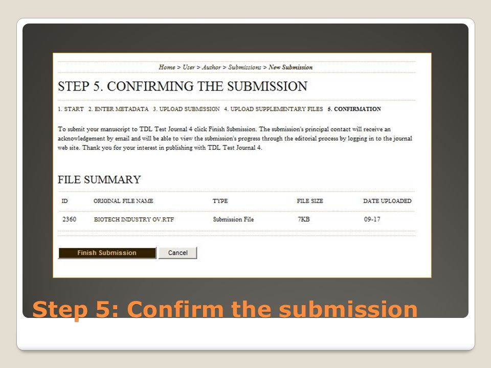 Step 5: Confirm the submission