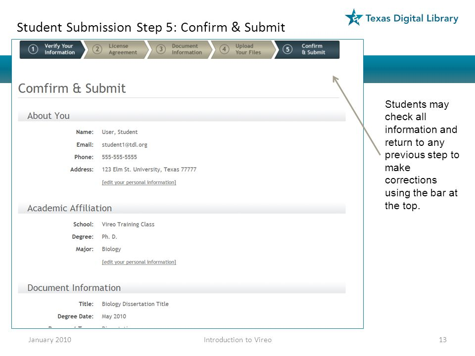 Student Submission Step 5: Confirm & Submit Students may check all information and return to any previous step to make corrections using the bar at the top.