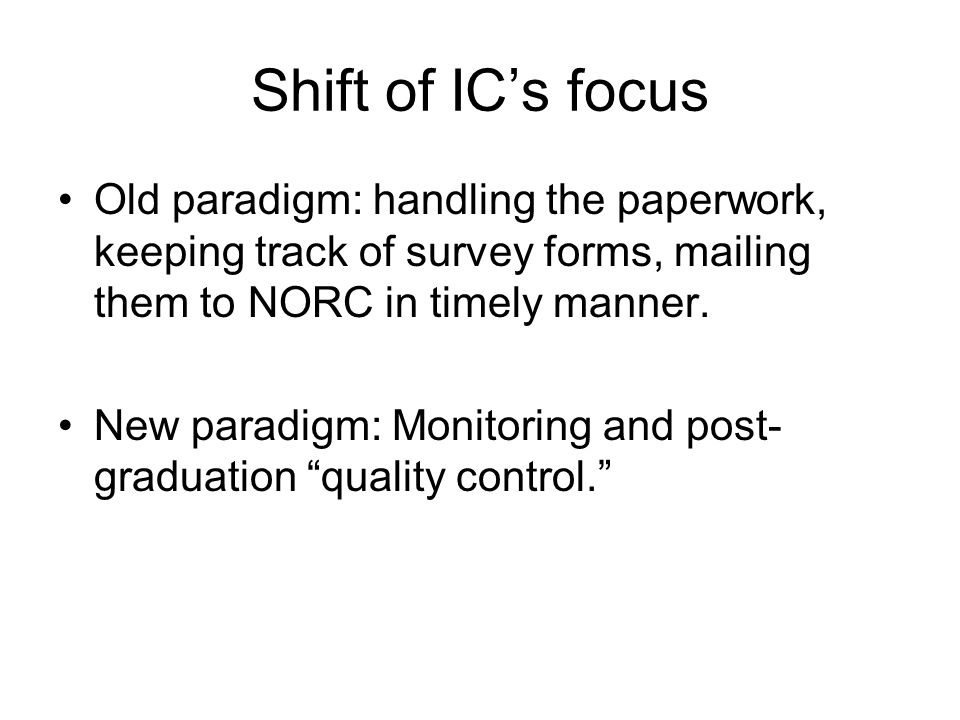 Shift of ICs focus Old paradigm: handling the paperwork, keeping track of survey forms, mailing them to NORC in timely manner. New paradigm: Monitorin