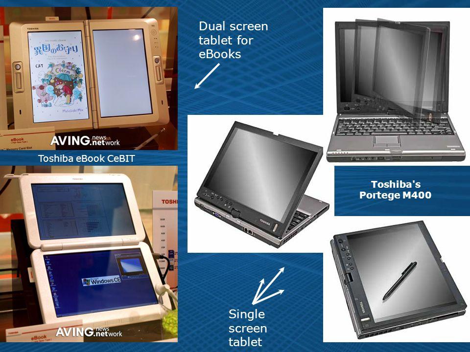 7 Single screen tablet Toshiba s Portege M400 Dual screen tablet for eBooks Toshiba eBook CeBIT