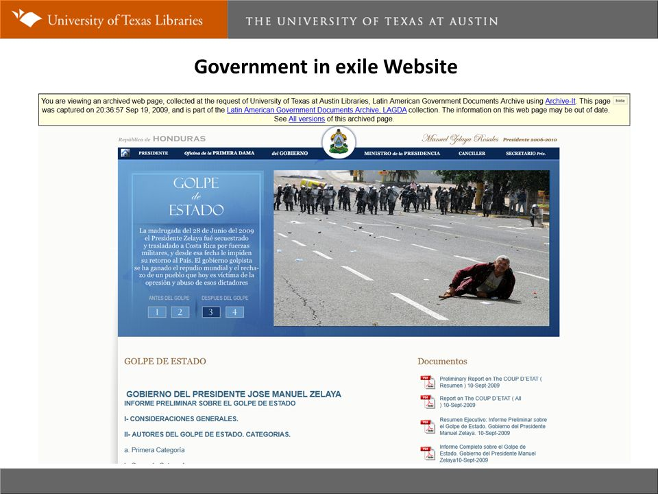 Government in exile Website